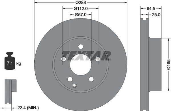 TEXTAR BREMSSCHEIBEN Ø288mm BELÄGE VORNE MERCEDES C-KLASSE W204 S204